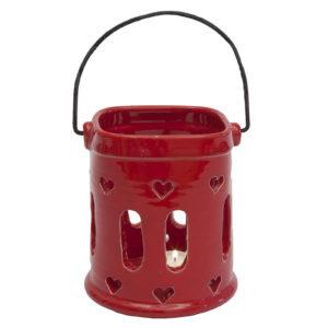 lanterna in ceramica rossa linea Natale Virginia CAsa