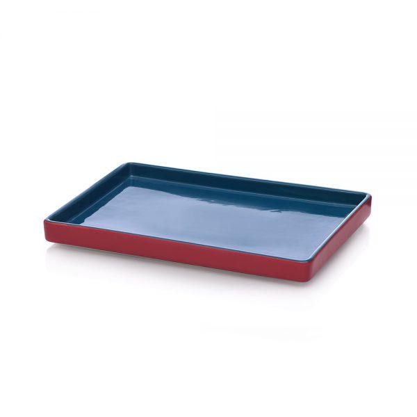 ichendorf pirofila rettangolare azzurro e rosso in gres
