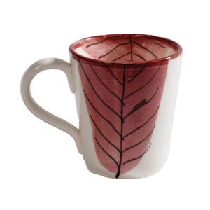 mug con decoro foglia rossa autunno linea lamina