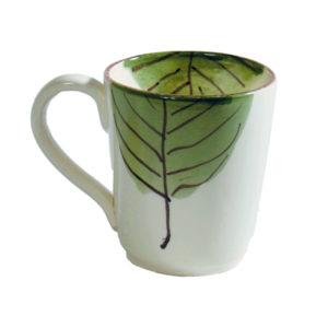 virginia casa tazza te con foglia verde e manico