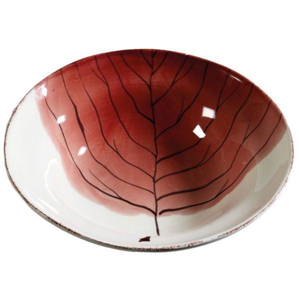 insalatiera in ceramica bianca con decoro dipinto a mano foglia autunnale rossa