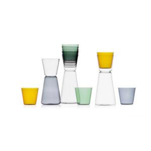 collezione bicchieri e brocche ichendorf High rise vetro trasparente e colorato