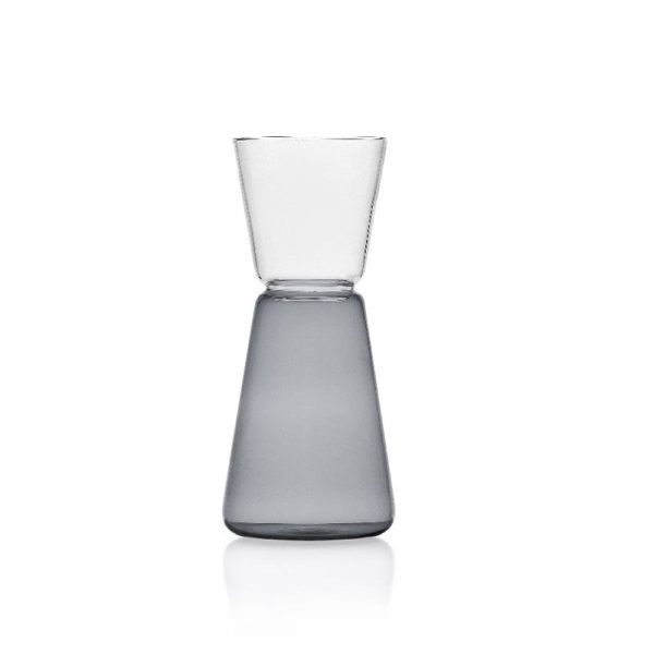 brocca in vetro con impugnatura colore grigio ichendorf clear smoke