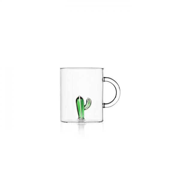 tazza te mug in vetro trasparente con decoro interno in vetro verde cactus ichendorf