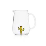 Ichendorf brocca con manico vetro trasparente e decorazione interna in vetro a forma di cactus giallo