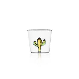 bicchiere cactus giallo vetro ichendorf