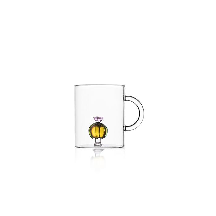 tazza te mug in vetro trasparente con decoro interno in vetro giallo cactus ichendorf