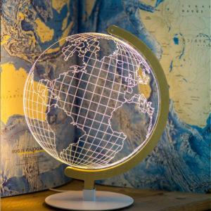 lampada mappamondo vetro acrilico 3d luce led con supporto in metallo