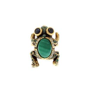 Anello a forma di rana Alcocer con pietre colorate e zirconi