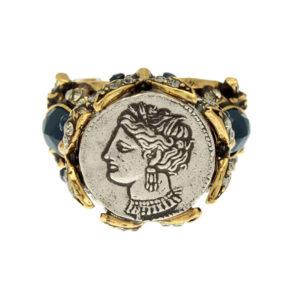 Anello da donna con figura di donna classica pietre e zirconi Alcocer