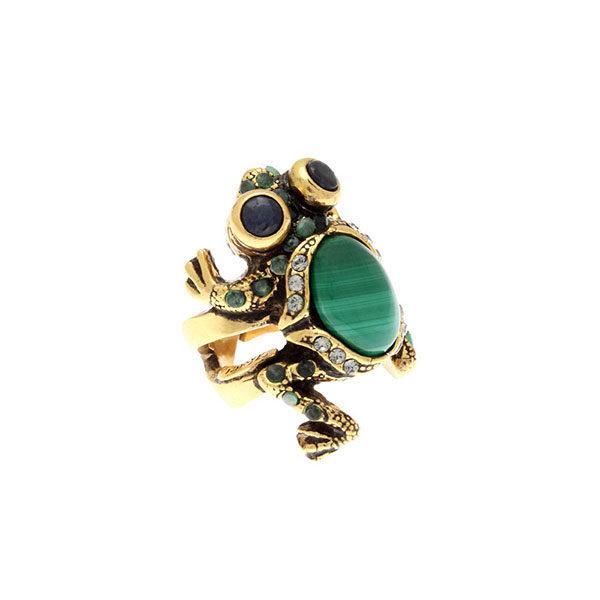 Anello da donna con pietra verde forma rana e pietre azzurre Alcocer