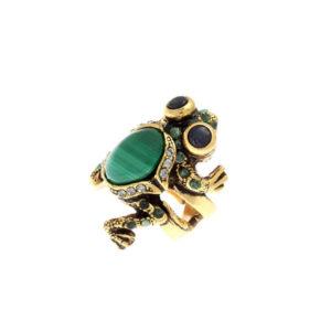 Anello da donna a forma di rana con pietra verde Alcocer online
