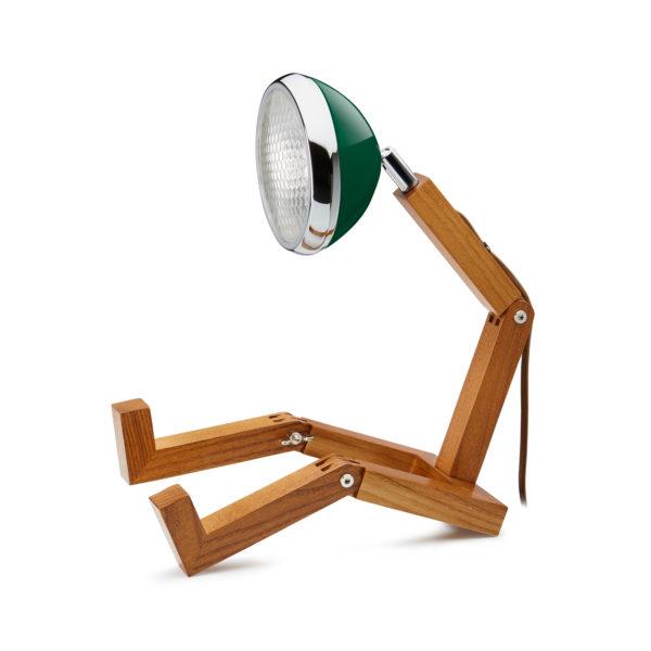 lampada Mr Wattson Piffany in legno di frassino per interni e faro Vespa 1946 verde