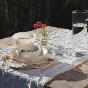 set piatti bambù color crema beige fiorirà un giardino