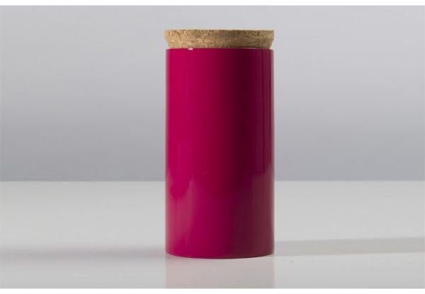 scatola in bambù laccato rosa con coperchio in sughero