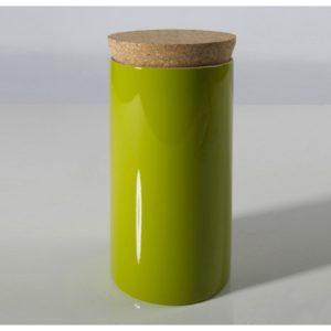 scatola in bambù laccato verde con coperchio in sughero