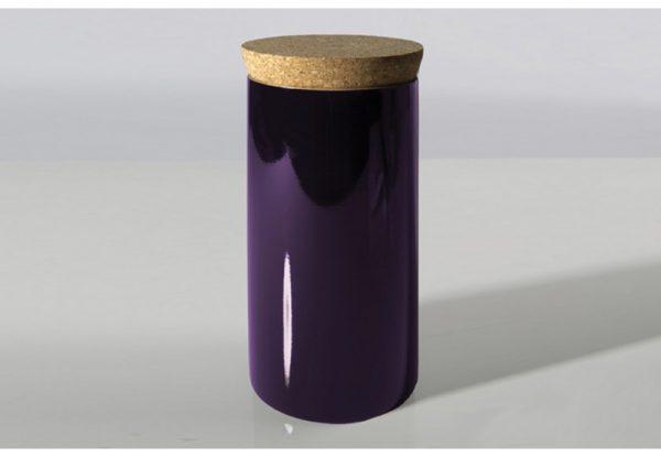 scatola in bambù laccato con coperchio in sughero