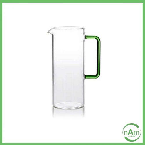 brocca in vetro verde Tube ichendorf con manico verde e corpo trasparente