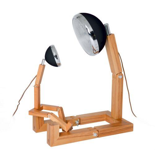 lampada MINI Mr Wattson Piffany in legno di frassino per interni e faro Vespa 1946 nero