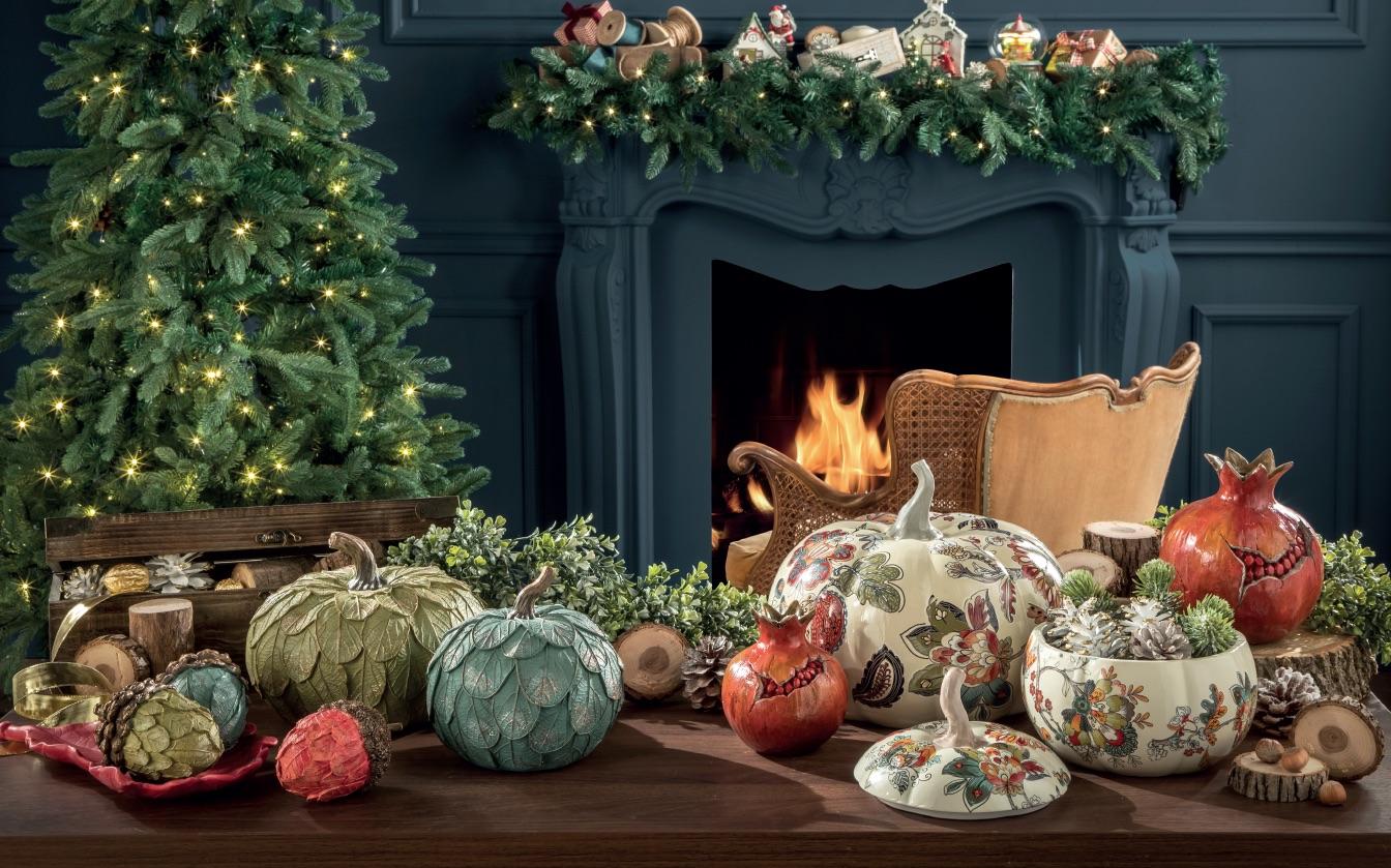 centro tavola natalizio a forma di zucca