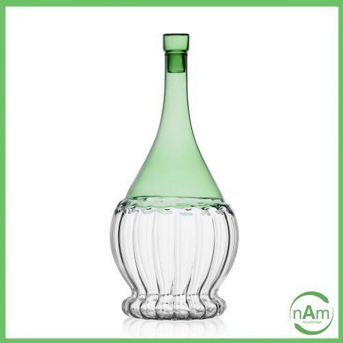 fiaschetta vino vetro con tappo Ichndorf color verde bottiglia