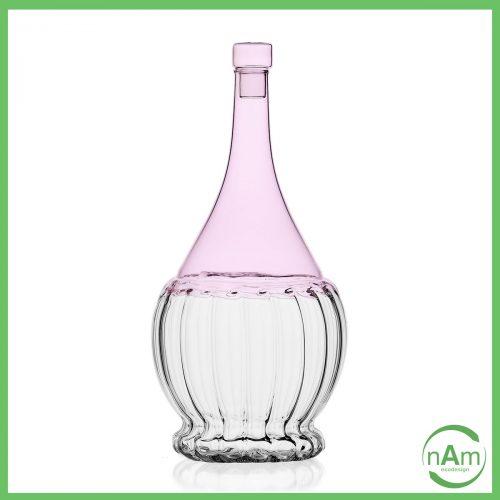 fiaschetta vino vetro con tappo Ichndorf color rosa lilla