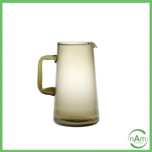 brocca con manico in vetro colorato fume Bitossi Home Diseguale