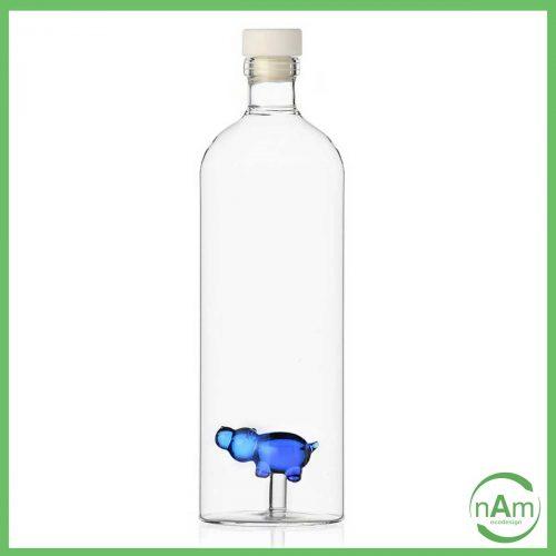 bottiglia in vetro con tappo e ippopotamo in vetro ichenodrf